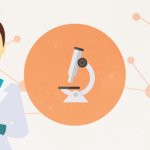 IMPC Scientist and microscope illustration